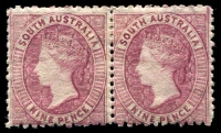 Lot 1607:1868-79 Wmk Large Star Perf 11½-12½ SG #75 9d claret pair.
