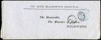 Lot 1890:174: 1st duplex 'BAIRNSDALE/MY25/83/VICTORIA - 174' WWW# 20, on Minister of Justice circular.  Allocated to Lucknow-PO 20/2/1858; renamed Bairnsdale PO 3/4/1862.