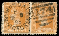 Lot 2007:174: 22mm unframed 2nd duplex 'BAIRNSDALE/H/SE9/93/VICTORIA - 174' WWW #50A (arcs .,.), on 1d brown pair  Allocated to Lucknow-PO 20/2/1858; renamed Bairnsdale PO 3/4/1862.