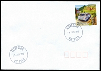Lot 2389:Alfredton: - WWW #50 30mm 'ALFREDTON/25JAN2013/VIC 3350' on 60c on unaddressed cover.  PO 1/8/1868; LPO 19/8/1993.