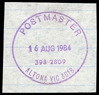 Lot 11635:Altona: - WWW #940 violet 32mm 'POSTMASTER/16AUG1984/398 2809/ALTONA VIC 3018' (ERD) on piece. [Rated 3R]  RO 14/1/1918; PO c.1921.