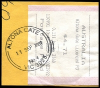 Lot 2424:Altona Gate: - WWW #180 32mm double-circle 'ALTONA GATE/11SEP2001/No.4/VIC 3025' on cash register receipt on piece.  Replaced Beevers PO 8/2/1986; LPO 30/7/1993.