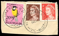 Lot 12773:Altona North (2): - WWW #20A 'ALTONA NORTH W.21/16OC67/VIC-AUST' (arcs 4,5) on 20c, 4c & 1c on piece. [Rated 3R]  PO 1/3/1966.