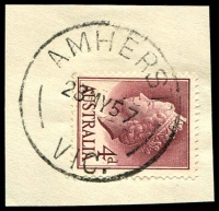 Lot 2163:Amherst: - WWW #40 'AMHERST/28MY57/VIC.' on 4d claret on piece. [Rated 2R]  PO 1/1/1856; closed 31/5/1963.