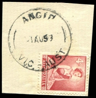 Lot 2170:Angip: - WWW #10A 'ANGIP/1AU59/VIC-AUST', on 4d lake QEII on piece. [Rated 3R]  Renamed from Yellangip North PO 15/5/1917; closed 31/5/1963.