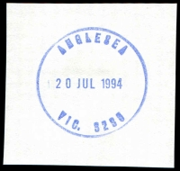 Lot 2171:Anglesea: - WWW #40 31mm 'ANGLESEA/20JUL1994/VIC. 3230' on piece.  Renamed from Anglesea River PO 1/3/1950; LPO 20/6/1994.