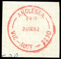 Lot 13358:Anglesea: - WWW #310 red 'ANGLESEA/PAID/29DE82/VIC-AUST-3230' on piece. [Rated 3R]  Renamed from Anglesea River PO 1/3/1950; LPO 20/6/1994.