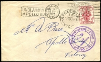 Lot 2459 [1 of 2]:Apollo Bay: - WWW #20A 'APOLLO BAY/5JA54/VIC' arrival on cover from Colac, boxed 'UNCLAIMED AT/APOLLO BAY' (A1) on face  Renamed from Krambruk PO 2/5/1898; LPO 28/7/1995.