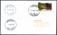 Lot 13422:Ararat: - WWW #477 29mm 'ARARAT/2/9MAY2013/VIC 3377' on 60c on unaddressed cover, along with strikes from #1 & #4 cancellers.  Replaced Cathcart PO 31/8/1857.