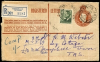 Lot 2533 [1 of 2]:Bairnsdale: - WWW #120A 28½mm 'BAIRNSDALE/12NO52/VIC', (arcs 5,5), on 3d green KGVI on 1/0½d Registration Envelope to Tasmania. Extra 3d is for additional insurance.  Renamed from Lucknow PO 3/4/1862.