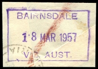 Lot 13136:Bairnsdale: - WWW #210 violet boxed 'BAIRNSDALE/18MAR1957/VIC. AUST.' (ERD) on piece. [Rated 4R]  Renamed from Lucknow PO 3/4/1862.