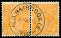 Lot 2319:Bairnsdale: - WWW #830 'M.O.BAIRNSDALE/29OC15/VIC' on 4d orange KGV pair.  Renamed from Lucknow PO 3/4/1862.