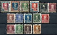 Lot 18859 [2 of 2]:1923 San Martin Dot Below 'C' SG #513s-28s ½c to 20p ovptd 'MUESTRA' complete, 1p & 20p thinned at top, ½c to 30c P13½x12½, others P13½. Ex UPU distribution. (16)
