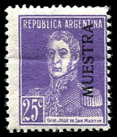 Lot 3482:1924 San Martin No Dot Below 'C' SG #539s 25c bright violet. Ex UPU distribution.