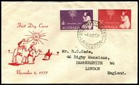 Lot 518:Easther (Max) 1957 Christmas set on illustrated cover to England, JH Harrison address on back, stamps cancelled with 'INQUIRY COUNTER/6NO57/LAINCESTON.'. A rare cachet maker, it is believed that no more than 50 covers for each issue were produced.