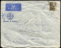 Lot 5494:1941 (May 13) use of 9d on Diocese of Sydney CENEF air cover, from Middle East to Dandenong.
