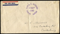 Lot 5331:1945 surrender day unframed woodcut 'H.M.A.S. HOBART/2SEPT/1945/TOKYO JAPAN' (A1) on stampless addressed cover