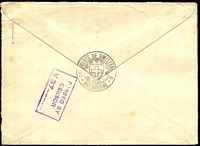 Lot 862 [2 of 2]:1940 (Feb 24) use of 3d blue KGVI on Consulate of Switzerland cover from Melbourne to Zurich, boxed 'PASSED BY CENSOR/V37....' handstamp on face.