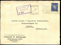 Lot 862 [1 of 2]:1940 (Feb 24) use of 3d blue KGVI on Consulate of Switzerland cover from Melbourne to Zurich, boxed 'PASSED BY CENSOR/V37....' handstamp on face.