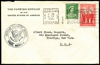 Lot 628:1940 (Sep 18) use of The Foreign Service of the United Sates of America cover from Sydney to New York with 1d QE & 2d AIF, Sydney American Consulate General handstamp on face.