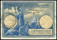 Lot 3441:1940s Imperial Reply Coupon with 3d price, wmk GviR printer Harrison & Sons, purchased 30JY51 at Rundle Street