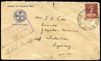 Lot 5571:Field Post Office 'FIELD POST OFFICE/1SE42/O25.' (Esk, Qld) on 1d QE on Diocese of Sydney Chuch of England Hut cover, boxed 'AUSTRALIAN/IMPERI