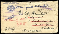 Lot 4578:H M TRANSPORT handstamp on face of 1942 stampless Church of England National Emergency Fund cover endorsed At sea - passed Colombo(?), to South Yarra and redirected to SE8. Censor 74 on face. [Believed to be part of the 9th Division re-inforcements. This was the last outward bound transport to the Middle East.]