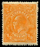 Lot 173:½d Orange - BW #66a Wmk inverted, MUH, aged gum, Cat $25.