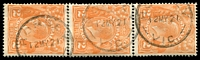 Lot 1941:2d Orange Die I - BW #95(3)ga [3L19] Cracked electro through base of left wattle - State II, further crack through base, middle stamp in vertical strip of 3, on piece, pmk partly impinges on lower crack, Cat $300. [ACSC incorrectly allocates this variety to 3R19], Cat $300.