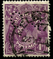 Lot 2332:4d Violet - BW #111(2)vd [2R58] Break in upper right frame and white spot over FO of FOUR, pmk over Dot, perf 'OS', Cat $80.