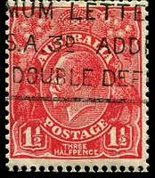 Lot 558:1½d Red Die II - BW #92(1)d [1L20] Vertical cut right of first bloom of left wattles and split frame left of HALF, top of angle missing, trimmed perfs from coil machine?, Cat $20.