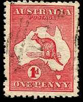 Lot 810:1d Red Die IIA BW #4(K)f [KL49] Vertical scratch adjoining Cape York, odd perf fault, Cat $90. The first offered by us.