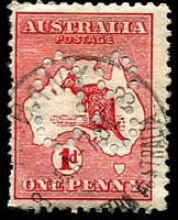 Lot 689:1d Red Die I - BW #2(C)f [CL37] White scratch from 'L' of 'AUSTRALIA' to near coast, perf large 'OS', Cat $20.