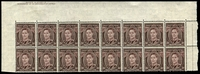 Lot 580:1941-51 3d Brown KGVI top marginal block of 16 (8x2) from left pane, mis-guillotined so that the imprint is in the top margin. See also Lot 581.