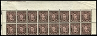Lot 581:1941-51 3d Brown KGVI top marginal block of 16 (8x2) from right pane, mis-guillotined so that the imprint is in the top margin. See also Lot 580.