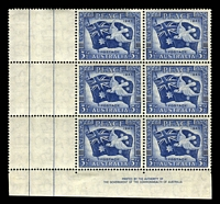 Lot 388:1946 Peace BW #237d 3½d left pane BLC Imprint vertical block of 6, 'H' flaw (colour joining left pair of vertical bars at right) [Sht C R4/2], hinged in margin only.