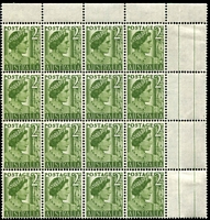 Lot 587:1951-62 2d Green QM BW #248bj Coil perf corner block of 16, 2 units hinged, Cat $80+.