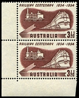 Lot 3270:1954 Rail Centenary bottom vertical pair, unit 1/8 with Hairline in front of engine, non-varietal unit hinged.