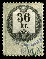 Lot 3506 [3 of 3]:Stamp Duty: 1870 series with value in words and numbers, 5kr, 7kr & 36kr (3)