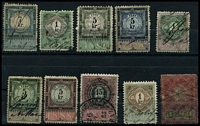 Lot 3508:Stamp Duty: 1879-98 series with 1879 7kr, 1881 1kr & 5kr, 1883 5kr, 1885 1kr & 5kr, 1888 5kr & 15kr, 1893 1kr & 1898 14h. (10)