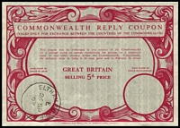 Lot 23287:1950s Commonwealth Reply Coupon with 5d price, wmk EiiR printer Harrison & Sons, purchased 26SP62 at Eltham