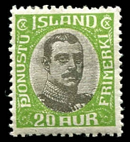 Lot 23807:1920 Christian X: SG #O132-39 3a to 1k (rounded corner), Cat £140, plus 1907 15a & 1923 Surcharge. Ex UPU distribution. (10)