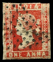 Lot 3983:1854-55 SG #12 1a red Die I 3½-margins, Cat £80.