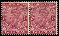 Lot 3785:1926-33 KGV Wmk Multi Star SG #205 1a bright purple pair, aged gum, Cat £54.