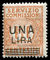 Lot 4050 [2 of 3]:1925 'SERVIZIO COMMISSIONI' Surcharge: set of 3, Sassone #4-6 cat €450. Ex UPU distribution.
