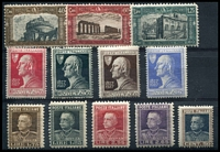 Lot 21087 [2 of 5]:1914-27 Group SG #172 incl 1926 National Defence set, 1927 Volta's Death, 1927 Emmanul II set, 1926 St Francis, 1924 Holy Year, 1926 Royal Jubilee, and some Express and Parcel Post pairs. Ex UPU distribution. (44)