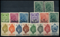 Lot 24400 [2 of 6]:1918-28 Group 1918 20h green, 1918 Anniversary to 1920 80th Birthday complete, 1920 Pdues & 1928 Pdues. Ex UPU distribution. (54)