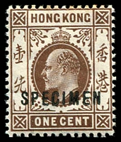 Lot 4110:1907-11 KEVII Wmk Mult CA SG #91s 1c brown ovptd 'SPECIMEN', top perfs toned. Ex UPU distribution.