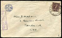 Lot 7306:Richmond R.A.A.F. P.O.: - 'R.A.A.F. 4109./2MR45/AUSTRALIA', on 1d purple-brown, on CENEF (Church of England National Emergency Fund) cover to Randwick, RAAF concession handstamp on face.  Renamed from Richmond Aerodrome PO 1/8/1940.