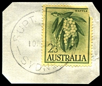 Lot 1459:Sydney: - 'SUPT. [MAILS]/2/10FE61/SYDNEY' on 2/3d Wattle on piece.  PO 25/4/1809.